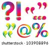 Rainbow exclamation, question mark, quotes. - stock vector