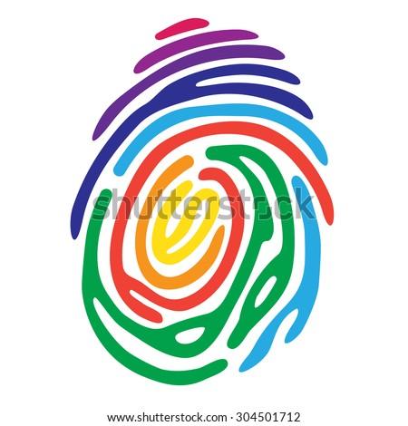 Rainbow fingerprint. Fingerprint color shape. Fingerprint secure. Fingerprint identification. ID fingerprint. Push fingerprint for unlock. Fingerprint pressure. Fingerprint vault. Vector Fingerprint. - stock vector