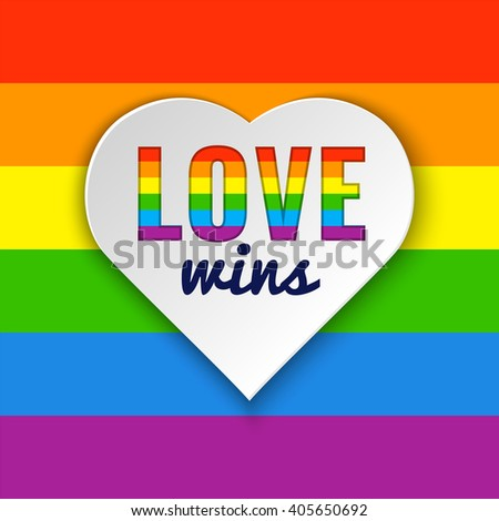 Rainbow flag. Heart background with Love Wins text. Vector illustration in LGBT colors. Gay culture symbol, horizontal rainbow - stock vector