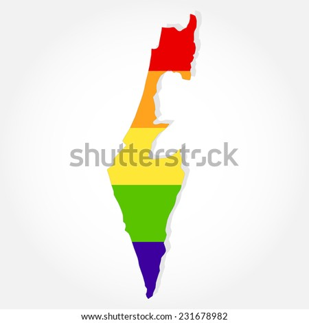 Rainbow flag in contour of Israel. Lgbt flag  in contour of Israel with light grey background - stock vector