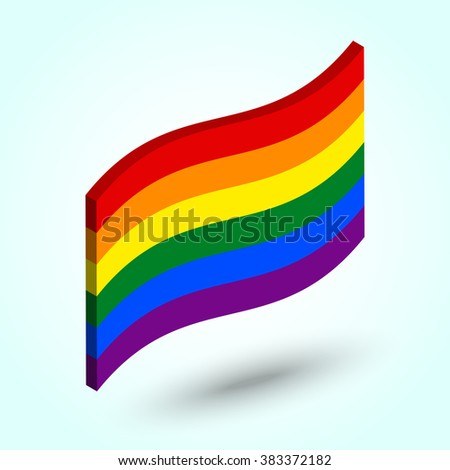 """Rainbow flag. Vector isometric illustration. Pride flag - a symbol of the gay and lesbian movement (LGBT) or """"peace flag"""" a symbol of the peace movement. Six colored stripes. - stock vector"""