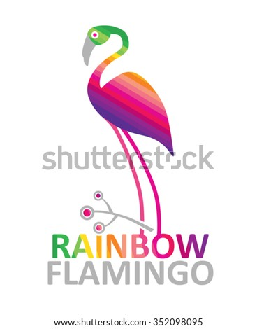 Rainbow Flamingo Vector Illustration Bright Template Design Stock