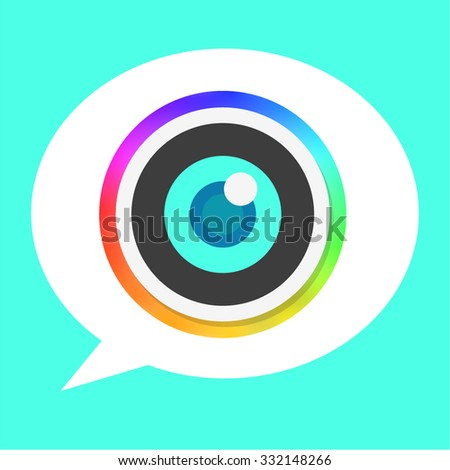 Rainbow Flat Camera Lens Icon and Bubble Speech Background for Mobile Apps - stock vector