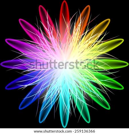 Rainbow Flower - stock vector