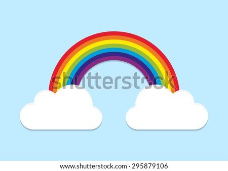Rainbow from cloud to cloud on blue sky background - stock vector