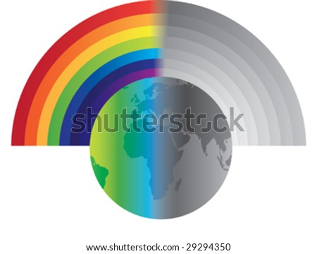rainbow globe illustration depicting a happy and sad world