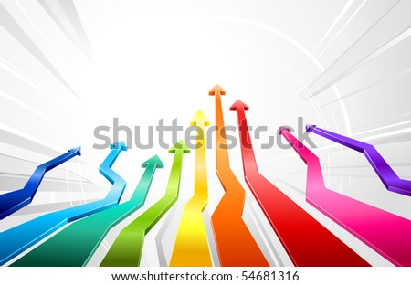 Rainbow glossy 3d arrows - stock vector