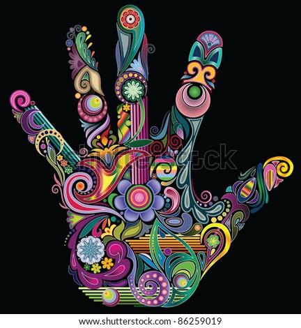 Rainbow hand - stock vector