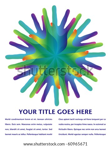 Rainbow hands with copy space. - stock vector