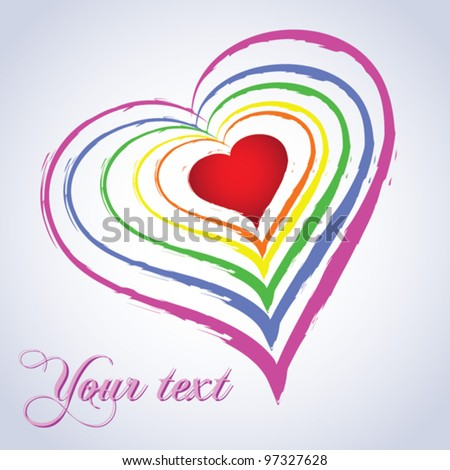 Rainbow heart. Abstract background - vector illustration - stock vector