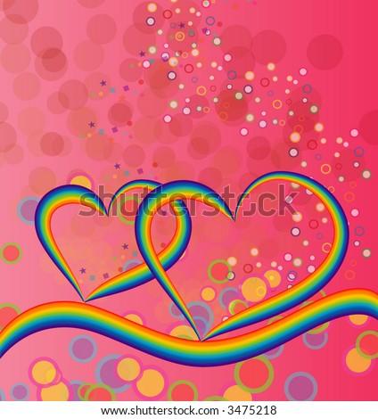 Rainbow Hearts - stock vector