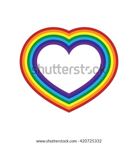 Rainbow icon heart. Flat sign, isolated on white background. Colorful light and bright design element for decorative concept. Vector illustration. - stock vector