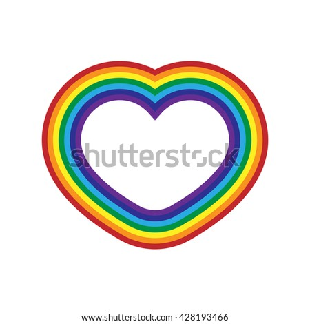 Rainbow icon heart. Flat sign, isolated on white background. Colorful light and bright design element for decorative concept. Symbol of rain, sky, clear and love, Valentine day. Vector illustration. - stock vector