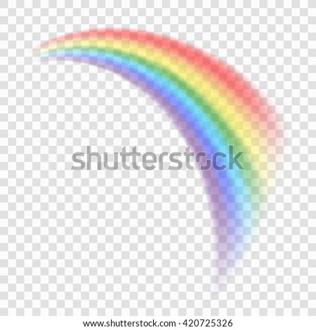 Rainbow icon. Shape arch realistic, isolated on transparent background. Colorful light and bright design element for decorative. Graphic object. Vector illustration - stock vector