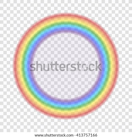 Rainbow icon. Shape circle realistic, isolated on transparent background. Colorful light and bright design element for decorative. Symbol of rain sky, clear, nature. Graphic object Vector illustration - stock vector