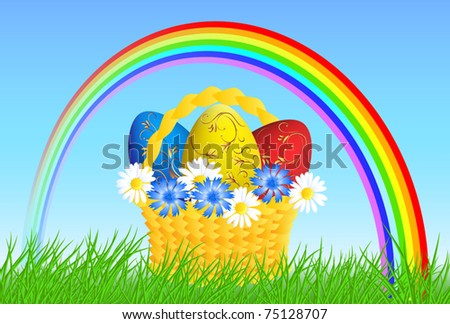 Rainbow in the sky and Easter eggs in the basket - stock vector