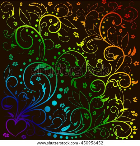 Rainbow leaves with abstract swirls, leaves, flowers and heart on a black background. Can be used as a background, decor, decoupage, textile, invitation. - stock vector