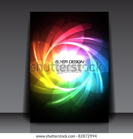Rainbow Lines Flyer Vector Background - EPS10 Design - stock vector