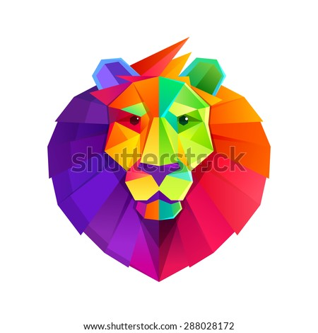 Rainbow lion head vector low poly character. - stock vector
