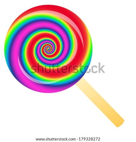 Rainbow lollipop isolated