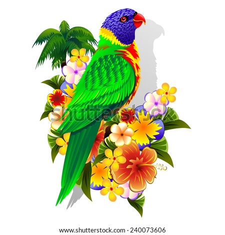 Rainbow Lorikeet on Tropical Flowers - stock vector