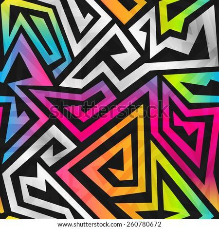 rainbow maze seamless pattern - stock vector