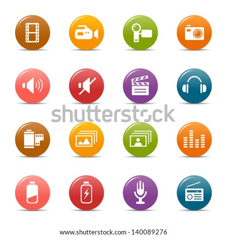 Rainbow - Media and Technology Icons / Navigation Template - stock vector
