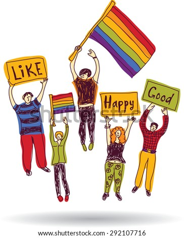 Rainbow meeting group happy people pride with flags Isolated set of pride colors people in meeting. White background. Color vector illustration. - stock vector