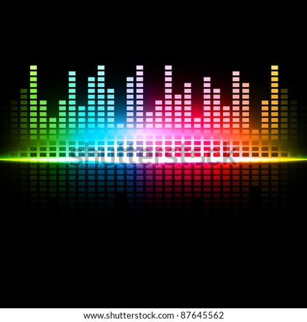 Rainbow multicolored abstract sound background - stock vector
