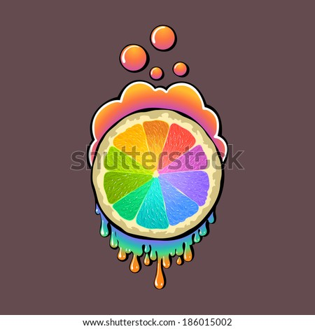 Rainbow orange graffiti style. The color of your design. - stock vector