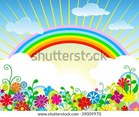 Rainbow over field. - stock vector