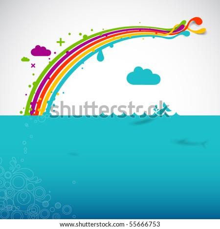 rainbow over the ocean - modern vector illustration - stock vector