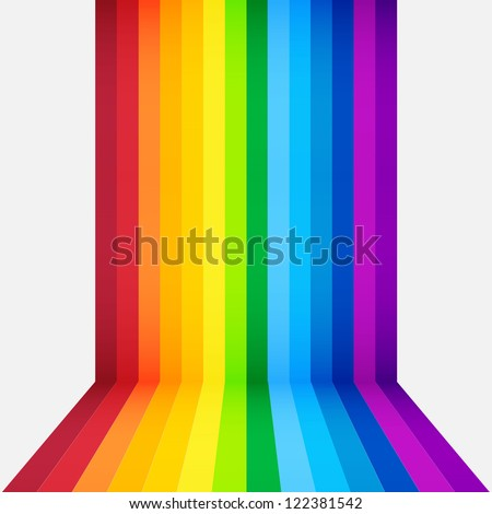 rainbow perspective background - stock vector
