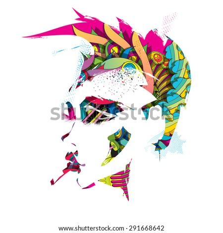 Rainbow punk - stock vector