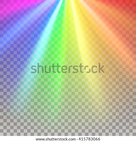 Rainbow rays. Color spectrum flare. Rainbow vector. Glaring effect with transparency. Abstract glowing light background. Graphic element for documents, templates, posters, flyers. Vector illustration - stock vector