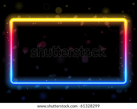 Rainbow Rectangle Border with Sparkles and Swirls. Editable Vector Illustration - stock vector