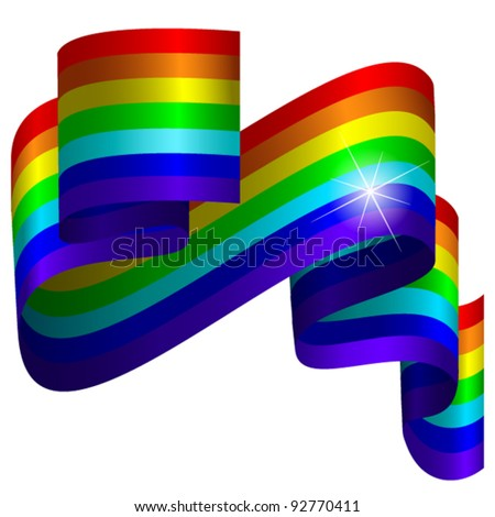 Rainbow ribbon on white background - stock vector