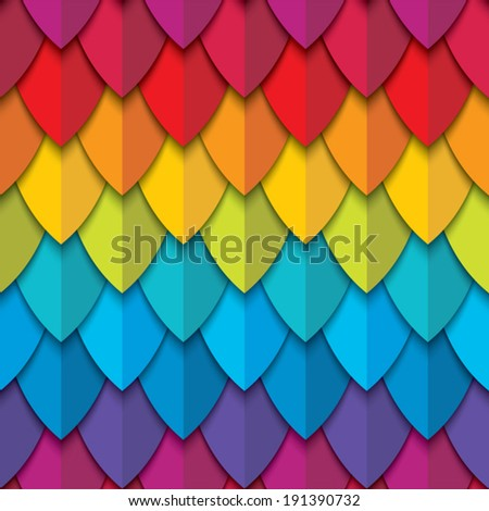 Rainbow seamless pattern with abstract scales. Vector background.  - stock vector