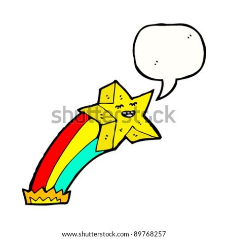 rainbow shooting star cartoon character - stock vector