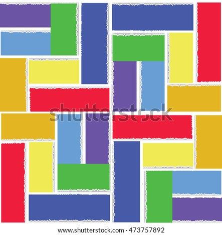 Rainbow square. Abstract geometric pattern of colored strips of torn paper. Vector image of symbol