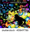 Rainbow Techno Discoteque Flyer with Abstract DJ silhouette. - stock vector