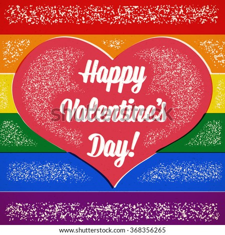 rainbow valentines day card with gay heart and shifted colors - Gay Valentines Cards