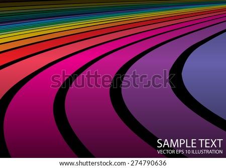 Rainbow vector colorful background illustration template. Vector color abstract background striped arcs illustration - stock vector