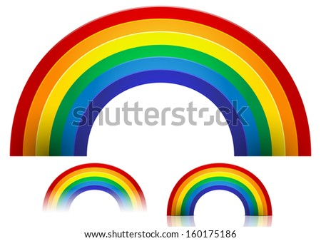 Rainbow vector with fading, reflection, shadow versions (transparency, low file size) - stock vector