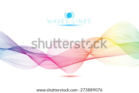 rainbow waves colorful gradient light blend line vector abstract - stock vector