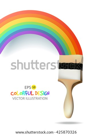 Rainbow with brush. Abstract Colorful background. Vector illustration. - stock vector