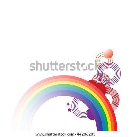 rainbow with design - stock vector
