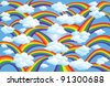 Rainbows and Clouds background in a cartoon illustration - stock vector