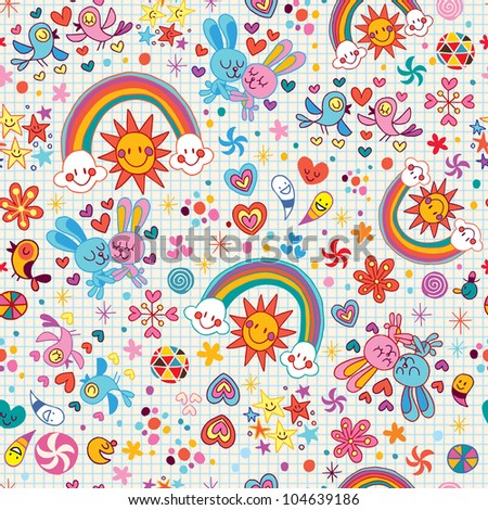 rainbows, bunnies & birds pattern