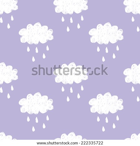 Raining cloud and falling drops seamless pattern. White on violet background. Children style vector illustration - stock vector